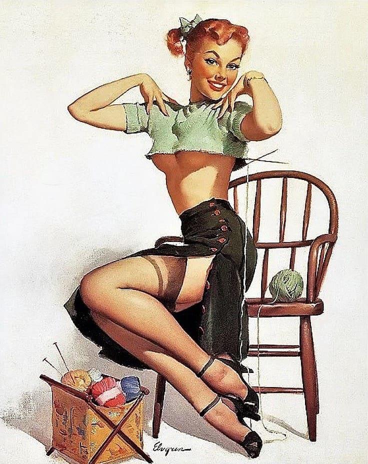 Vintage gil elvgren pin up girl art print by rbent